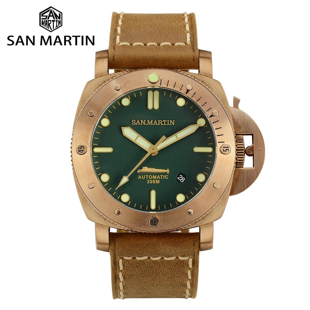San Martin Retro Diver Tin Bronze Limited Edition Automatic Mechanical Men Watch Sapphire Stitching Cowhide Strap Luminous