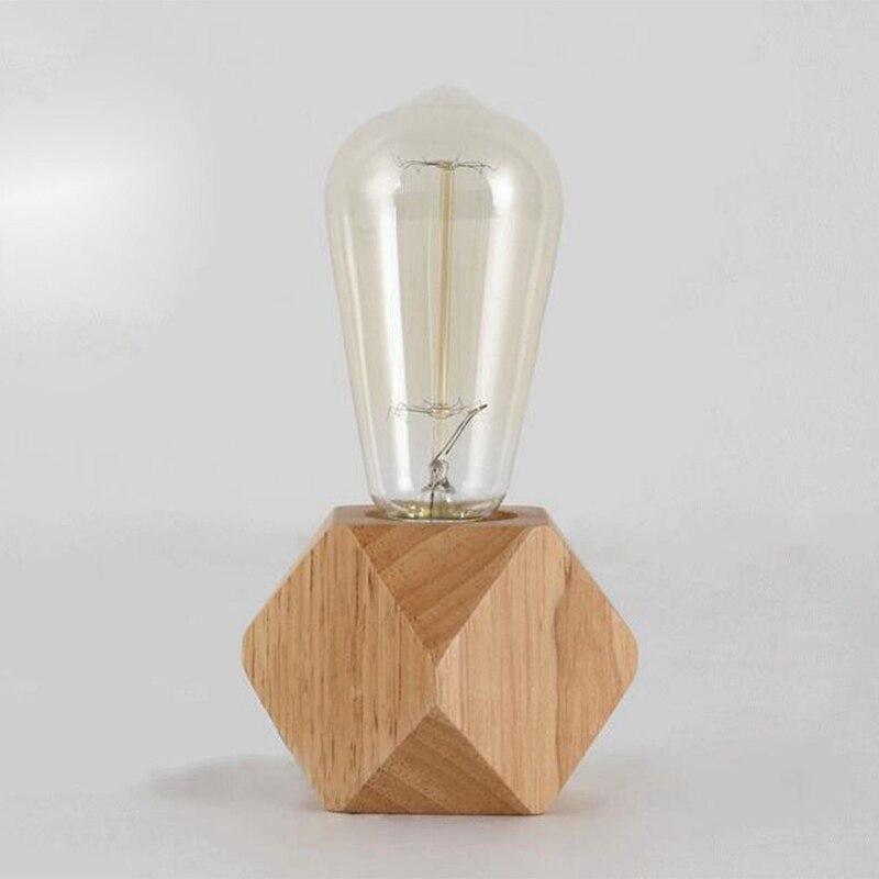 TOP!-Modern Table Lamp E27 Wooden Desk Lamp Diamond Bedside Lamp For Home/bedroom/living Room Decor EU-Plug Wooden Base