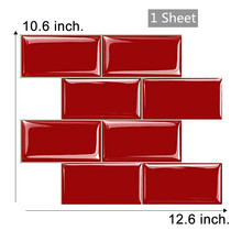 12.6*10.63D Red Subway Kitchen Tile Sticker Bathroom Backsplash WallSticker Home Decorating Wall Tile Peel and Stick Wall Tile clear crystal glass backsplash carved flower resin tile kitchen bathroom shower home wall 3d sticker border diy wall tile lsrn10