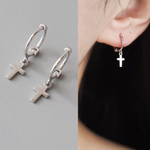 Return to the world you with ear ring earrings S925 pure silver cross mini contracted fashion earrings