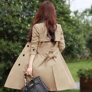 Image 5 - Primavera trench coat para a a primavera para mulher streetwear de volta gola dupla breastecasaco feminino plus tamanho 3xl xxxl sobretudo feminino