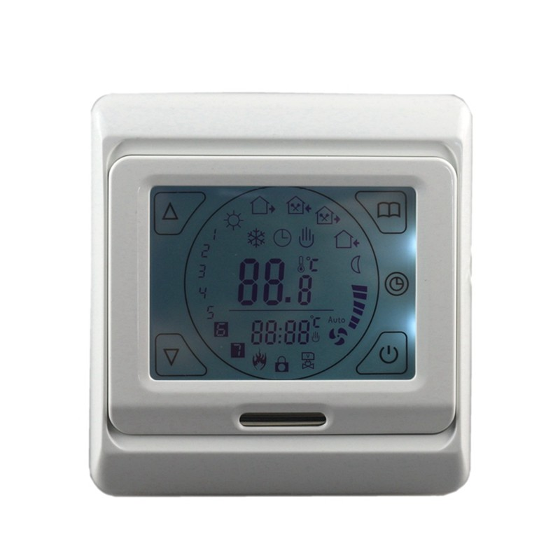 AC 16A 230V Eletric Floor Heating Thermostat System Digital Temperature Controller Room Air LCD Backlight Touch Screen + Cable