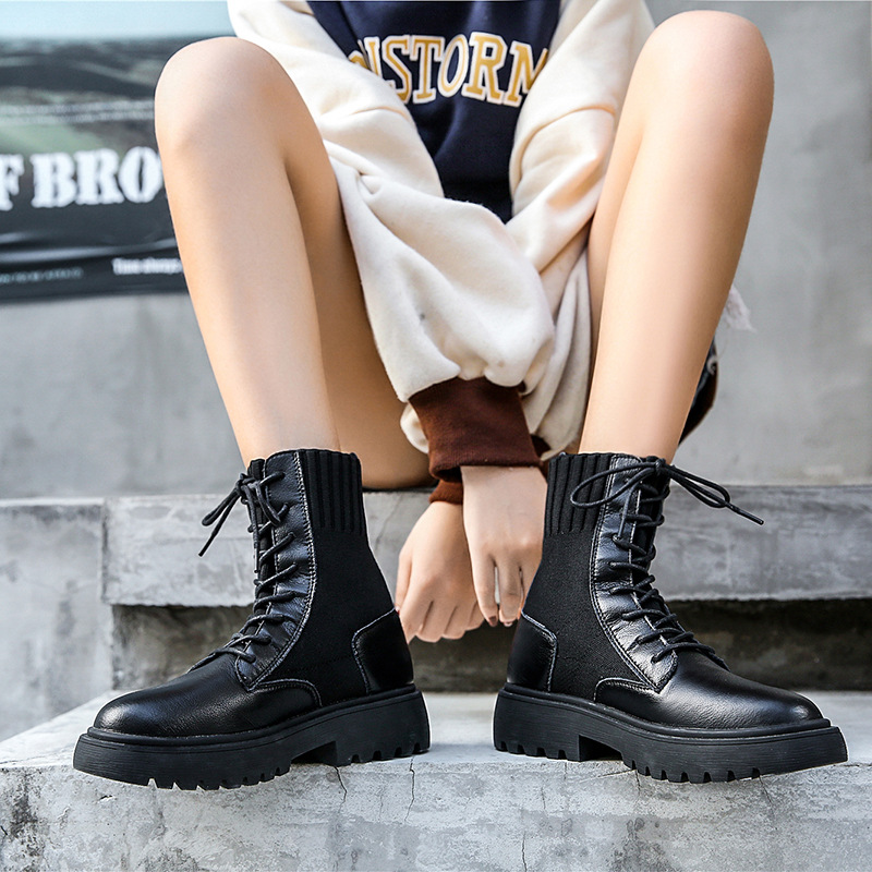 Leather Booties Female 2019 Autumn New Round Head Thick Bottom Flying Woven Socks Boots Thick With Wild Walking Shoes ZZ-37