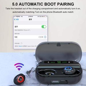 Image 4 - Bluetooth 5.0 Wireless Earphones Sport Waterproof 9D Hifi Stereo Earbuds With Microphone 2000mAh Charging Box