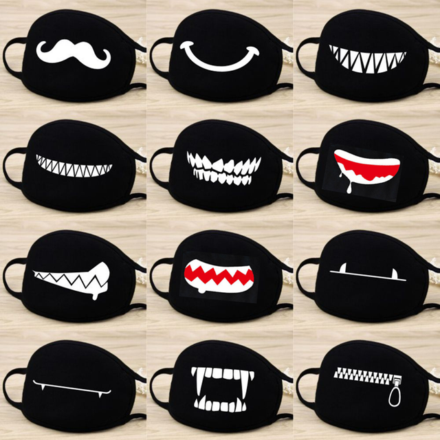 Funny Expression Smile Anti Dust Mouth Face Mask For Mouth Korean Black Kpop Unisex Kawaii Face Mouth Muffle Mask Cotton Fashion