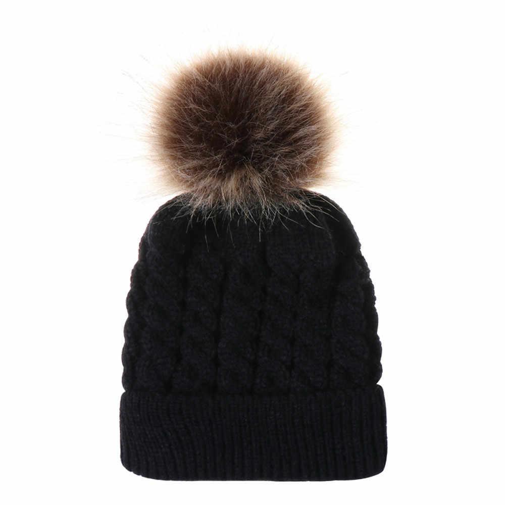ARLONEET סתיו חורף חם תינוק טוויסט צמר שווי פומפונים בימס כובעי רך יילוד תינוק סרוג צמר כדור כובע ילדי אוזן כובעים