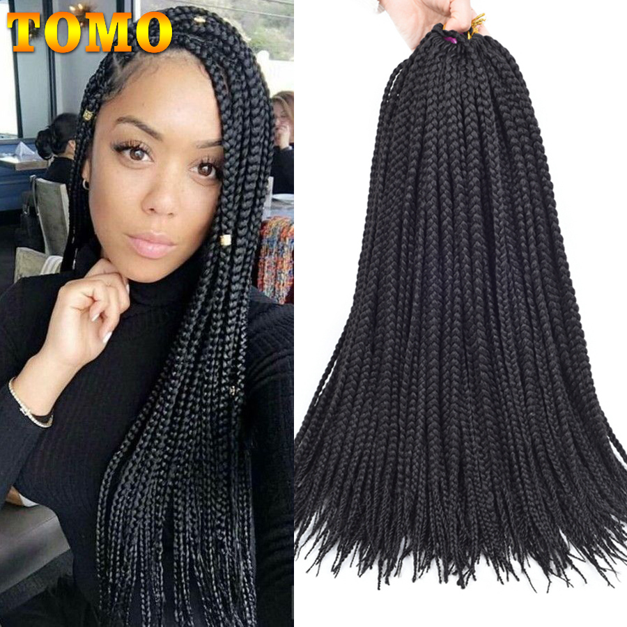 TOMO 14 18 22'' Medium Box Braid Crochet Hair Extensions Low Temperature Fiber Ombre Synthetic Crochet Braids 22Roots/Pack