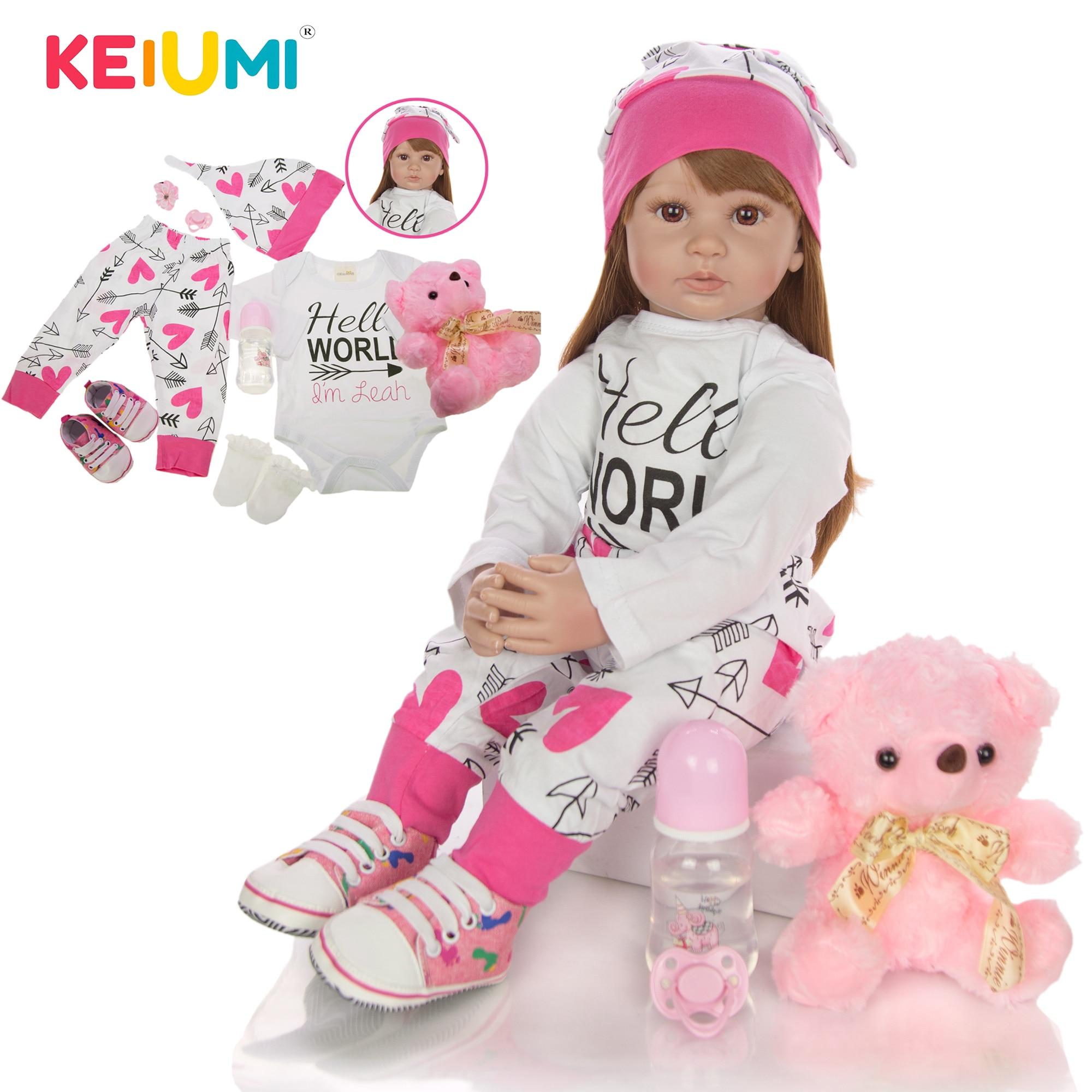 60 cm Neugeborenen Mädchen Realistische Baby Puppen Tuch Körper Gefüllte Mode Reborn Boneca Spielzeug Für Kleinkind Geburtstag Geschenke Schlafengehen Playmate