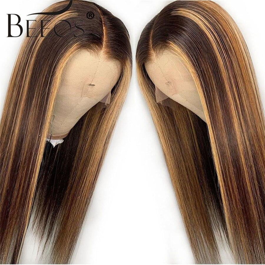 13*6 partie profonde dentelle avant perruque de cheveux humains droit point culminant couleur cheveux pré plumé ligne de cheveux blanchis noeuds brésiliens Remy cheveux