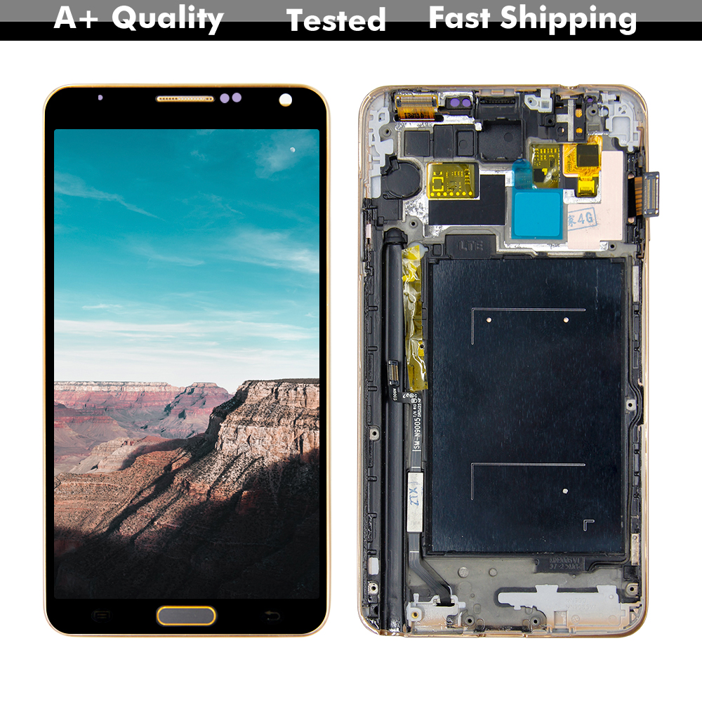 For Samsung Galaxy Note3 Note 3 <font><b>N9000</b></font> N9005 <font><b>LCD</b></font> Display Touch Screen Digitizer Assembly For Samsung Note 3 <font><b>LCD</b></font> With Gold Frame image