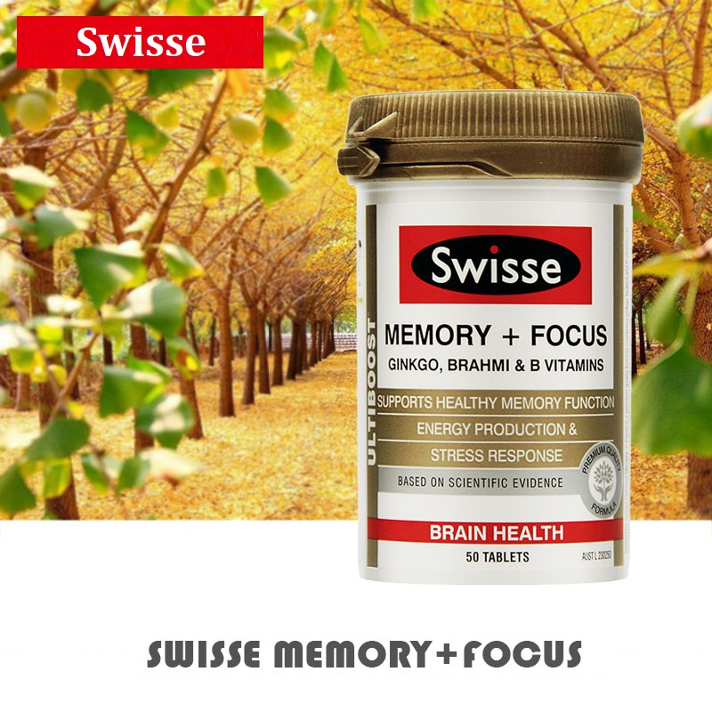 Swisse Memory Focus Dietary Supplements Ginkgo Brahmi VitaminB Support Brain Function Healthy Mental Performance Stress Times