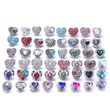 10pcs/lot Wholesale Snap Button Jewelry Mixed Heart 18mm Rhinestone Snap Buttons Jewelry Fit Snap Button Necklace Charms Jewelry 20pcs 50pcs lot kcd4 31 25mm 4pin 16a 250v snap in dpst on off position snap boat rocker switch copper feet
