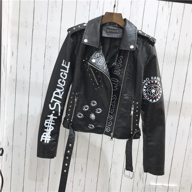 H04e44c65e5c841f689e55072857ca740d 2021 New Autumn Women Winter Faux Soft Leather Jackets Coats Lady Black PU Rivet Zipper Epaulet 3D print Motorcycle Streetwear