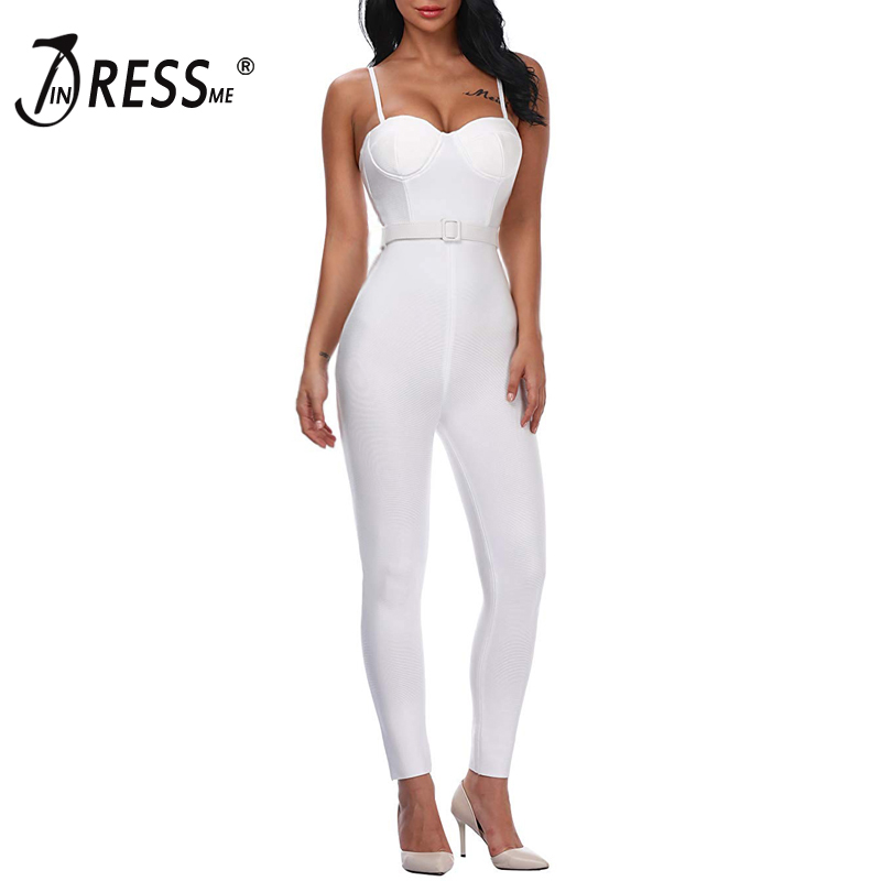 INDRESSME Women Full Length Bandage Jumpsuits Sexy Spaghetti Strap Club Party Jumpsuits Vestidos 2019