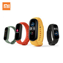 Xiaomi Miband 5 Smart Armbänder Sport 24 stunde Herz Rate Überwachung Magnetic Charging Große Farbe Bildschirm 5ATM Wasserdicht band 5