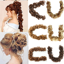 Curly Chignon Hair-Bun Scrunchie Messy Black Women for Brown Pre-Stretched
