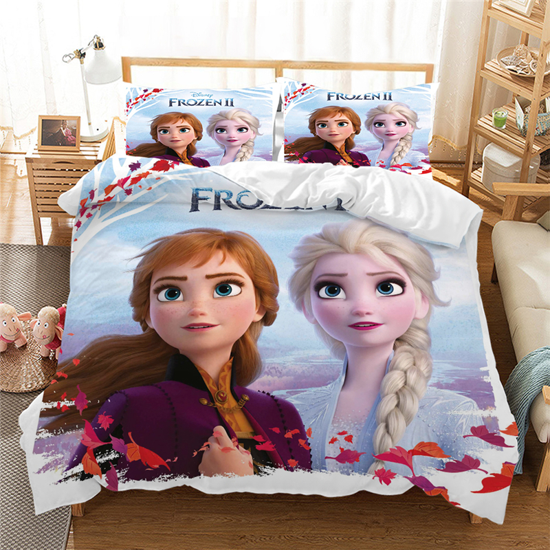 Frozen Anna Elsa Bedding Set Queen King Size Bed Set Children Girl Duvet Cover  Comforter Bedding Sets 100% Polyester  3 Pcs