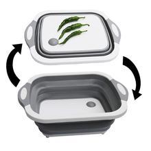 Multifunction Folding Cutting Board Silicone Drain Basket Plastic Storage Ice Bucket Kitchen Organizer