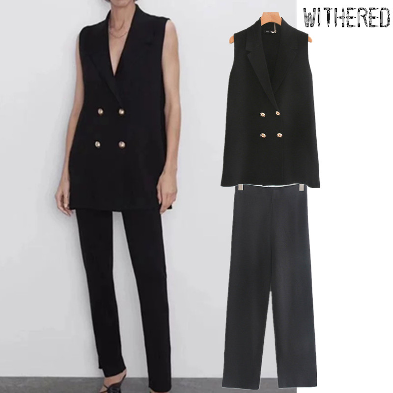 Withered England Office Lady Double Breasted Knitted Vest Jacket Top And Straigh Leg Fork Opening Suit Pants 2 Pieces Set Blazer