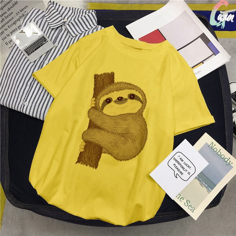 Sloth That Is Inferior To <font><b>Pig</b></font> And Dog Print Yellow <font><b>TShirt</b></font> Spoof Personality Vogue Summer Harajuku Casual Loose T-Shirt Women Top image