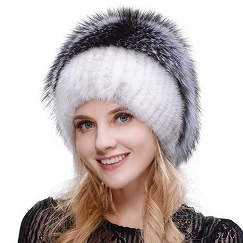 Middle aged women in the winter: mink fur women's knitted sweater hat new fashion European and American cat style ski caps 4