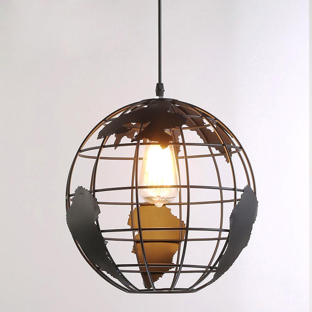Lustres de Style Vintage industriel en forme de terre Simple pendentif forgé plafonnier suspendu pour lustres ronds d'intérieur