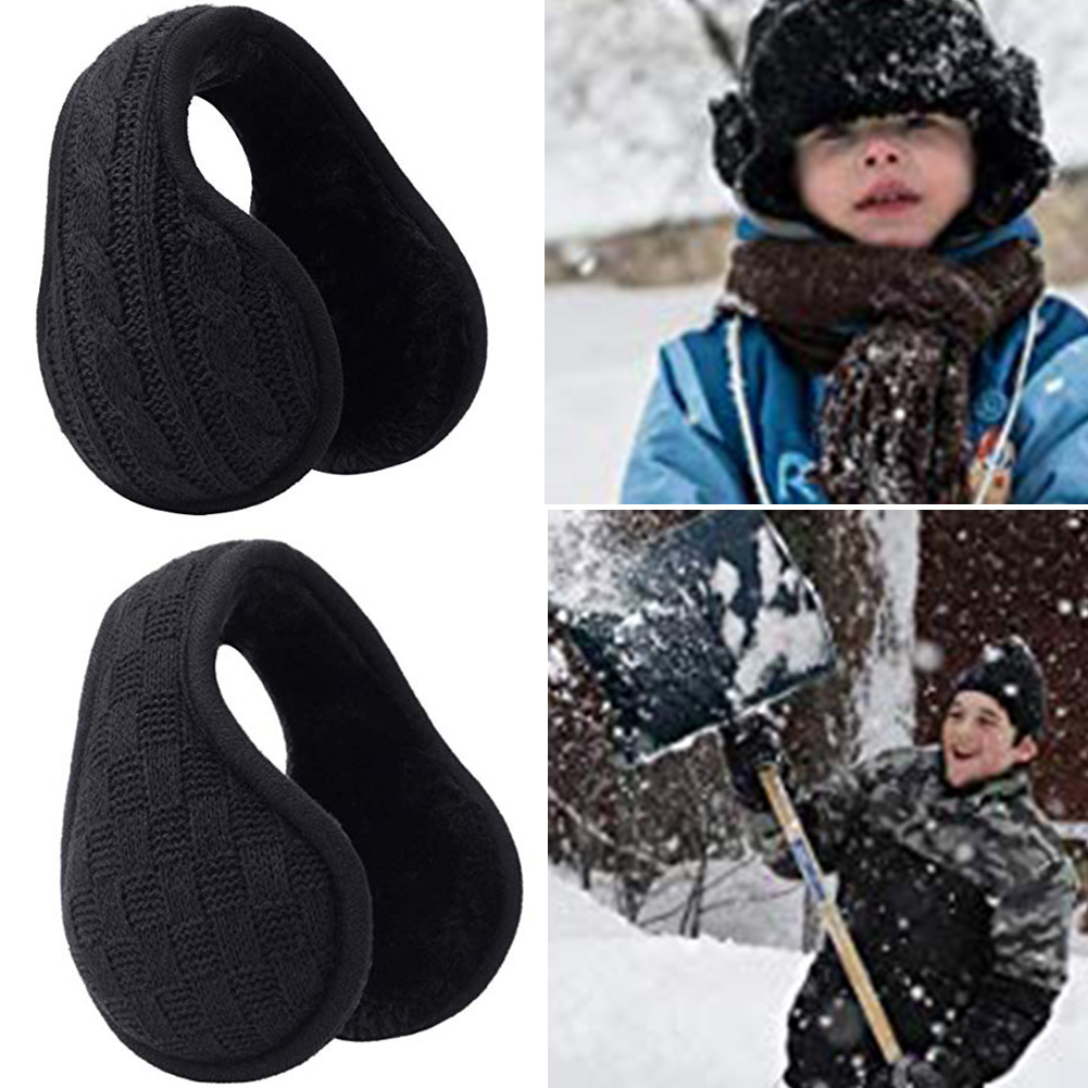 Unisex Winter Knitted Ear Warmers Foldable Warm Earmuffs For Outdoor Skiing Riding TH36