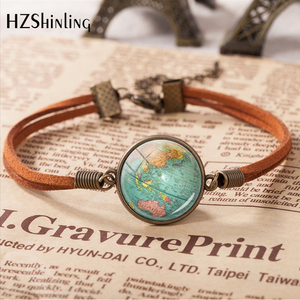 2020 Hot Sale World Mother Vintage Leather Bracelet Planet Earth World Globe Map Bracelets Art Accessories