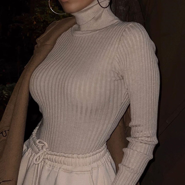 Long Sleeve Turtleneck Bodysuit Women Winter Clothing Ribbed Knitted Skinny Women's Body Gray Black 2020 New Female Outfits 3