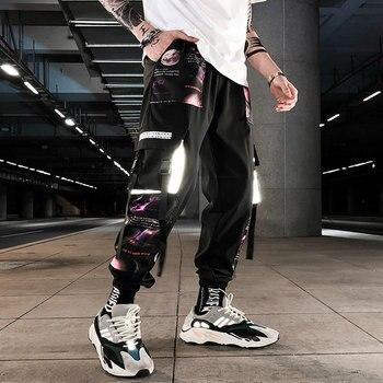 Streetwear hip hop calças militares dos homens retalhos bolso lado 2021 novo solto joggers sweatpants homens tornozelo comprimento calças para o sexo masculino 1
