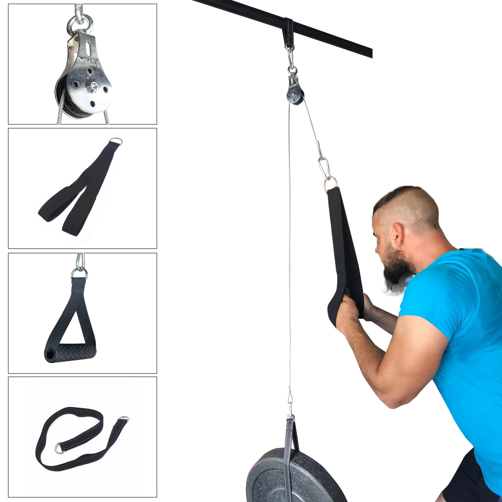 Fitness DIY Pulley Cable Machine Attachment System Arm Biceps Triceps Blaster Hand Strength Trainning Home Gym Workout Equipment image