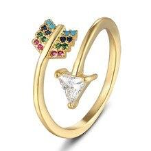 Anillo de compromiso ajustable para mujer, joyería para cumpleaños y boda, moda, flecha, arcoíris, cristal, novedad de 2020