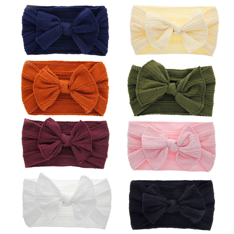Kid Girl Baby Bowknot Headband Toddler Hair Band Accessories Soft Solid Knitted Headwear