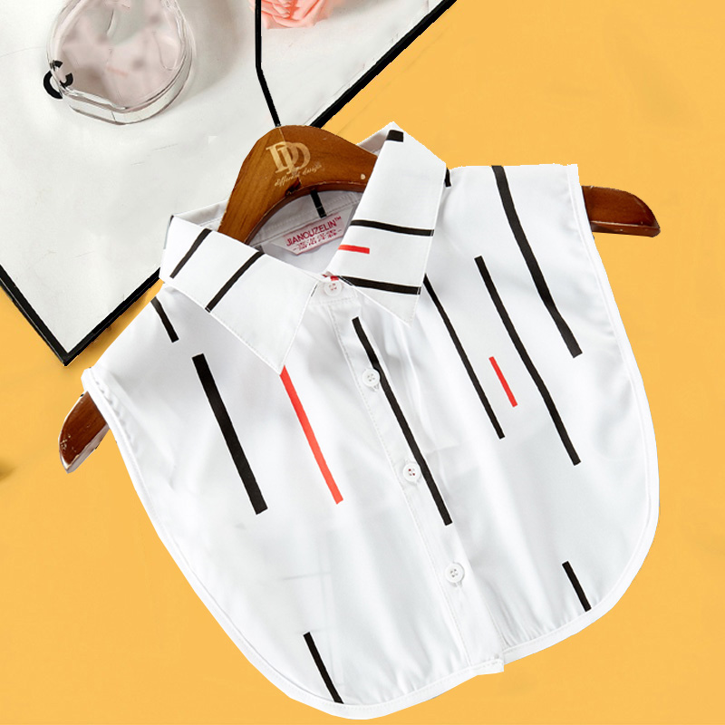 White Lace Fake Collar Women Stripe Ladies False Collar Stand Plaid Detachable Collar Shirt Red Half Shirt Detachable Blouse