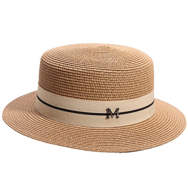 New Summer Women's Boater Beach Hat Wide side Female Casual Panama Hat Lady Classic Flat Bowknot Straw Sun Hat Women Fedora