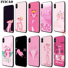 IYICAO Pink Panther Soft Black Silicone Case for iPhone 11 Pro Xr Xs Max X or 10 8 7 6 6S Plus 5 5S SE iyicao marvel comics the black panther soft black silicone case for iphone 11 pro xr xs max x or 10 8 7 6 6s plus 5 5s se
