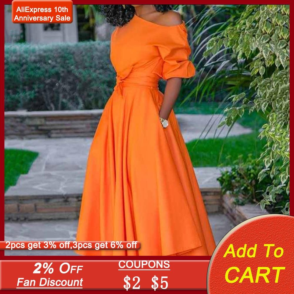 One Shoulder Pleated Women Long Dress Orange Midi Elegant Evening Party Dress Summer 2020 Half Sleeve Belted Robe De Soiree