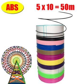 Filamenty do drukarek 3D 100 metrów 10 kolorów 3D pióro do dekorowania nici z tworzywa sztucznego drut 1 75mm materiały eksploatacyjne do drukarek 3D włókno długopisowe abs tanie i dobre opinie myriwell CN (pochodzenie) Stałe 5 Metr 50x5