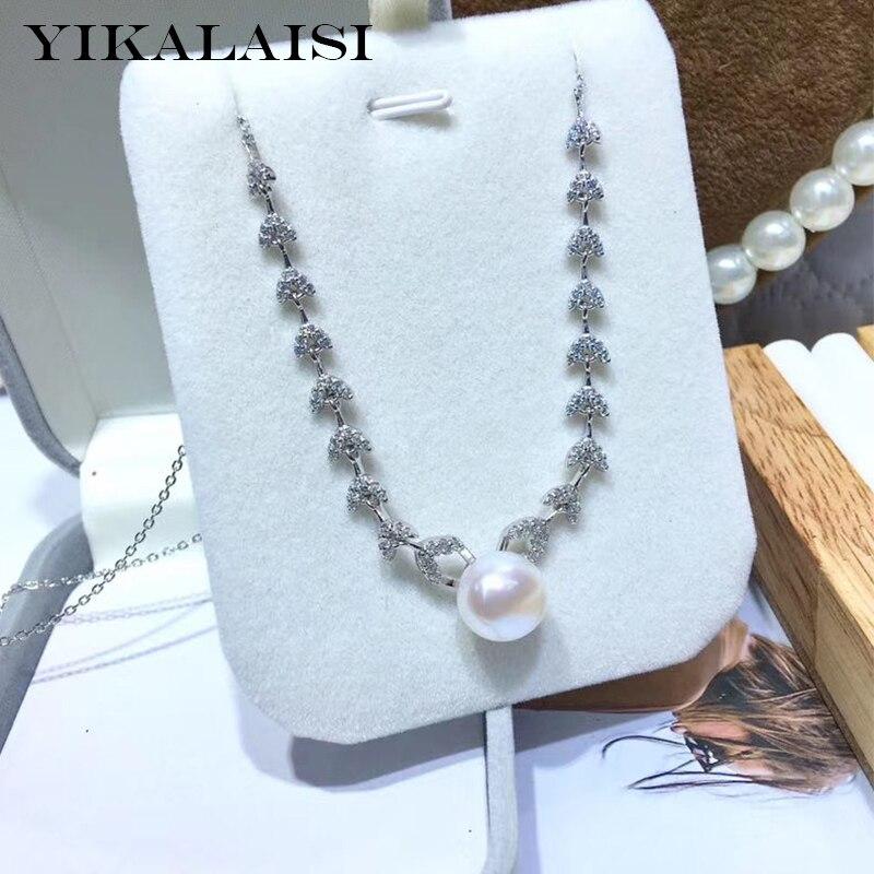 YIKALAISI 925 bijoux en argent Sterling perle colliers 2019 Fine perle naturelle bijoux 11-12mm colliers pour les femmes en gros