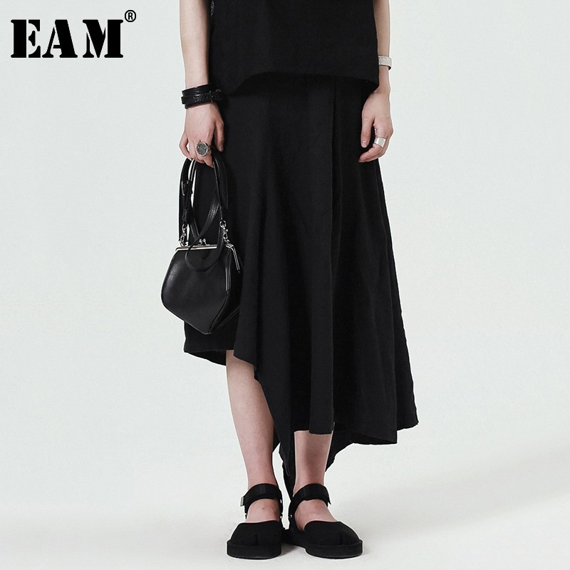 [EAM] 2020 New Spring Women Fashion Tide Loose Casual Solid Color High Wasit Asymmetric Ankle-length Wid Leg  Pants LA181