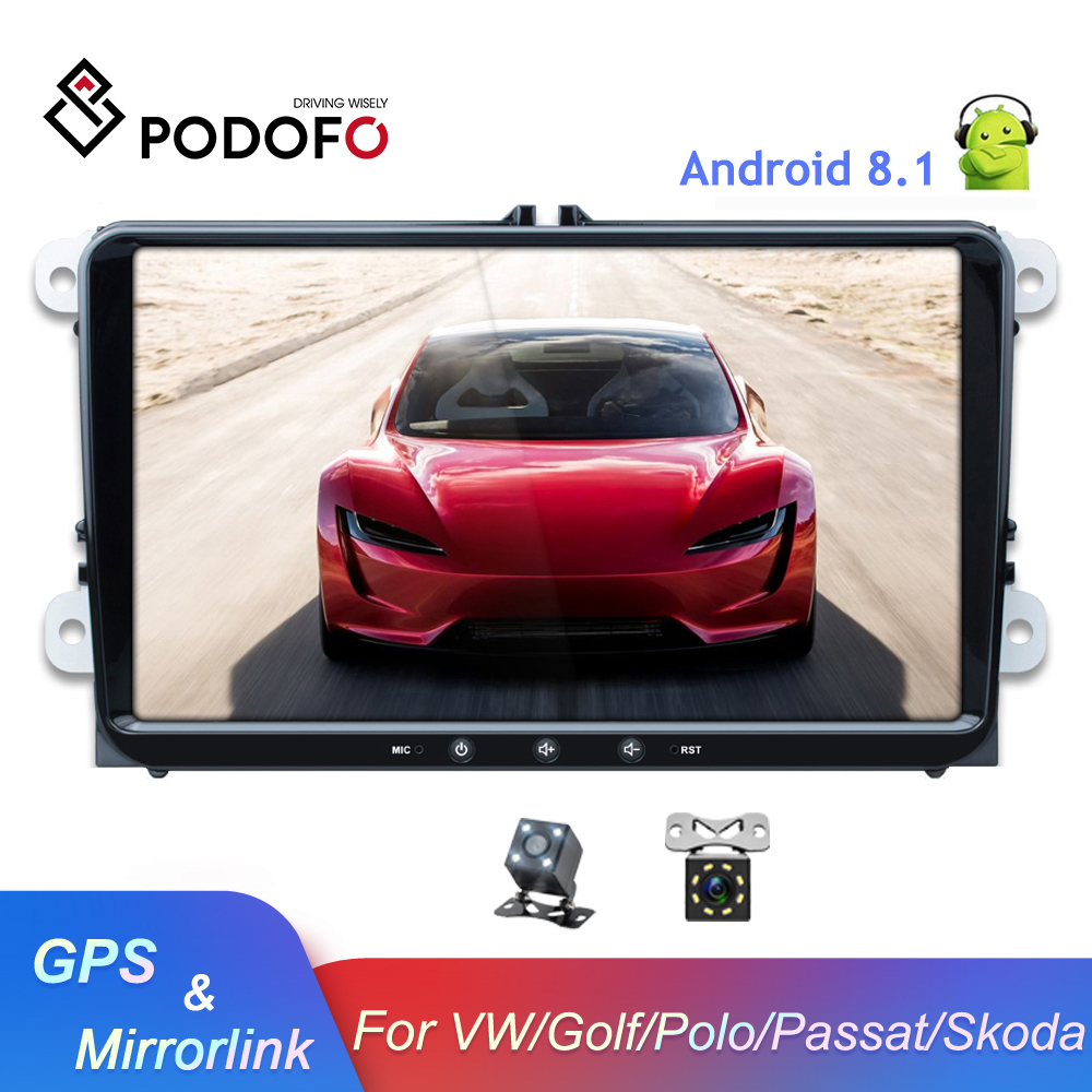 Podofo 9 ''Android 8.1 voiture lecteur multimédia 2 din Autoradio pour VW/Golf/Polo/Tiguan/Passat/Seat/leon/Skoda/Octavia