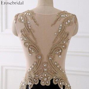 Image 5 - Erosebridal Black Mermaid Evening Dress Long Gold Lace Long Sleeve Evening Dress with Train 8 Colors