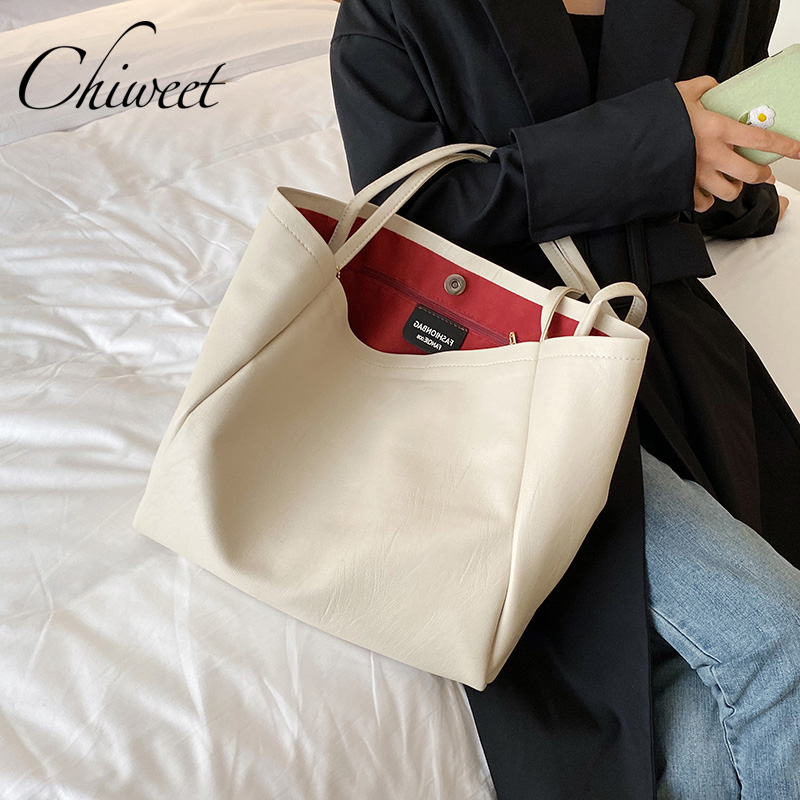 Chic Luxury Simple Casual Tote Women Leather Handbags Brand Large Capacity Shoulder Bags White Black Designer Bucket Bag Female