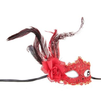 Maschera di Mascherina in Plastica Piume Stile Veneziano Rosso X Festa Carnevale