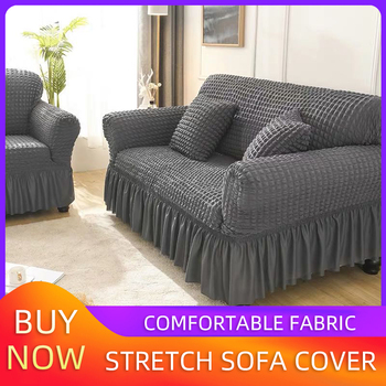 Elastic Sofa Cover Living Room Solid Color Sofa Cover Lattice Sofa Cover Elegant Skirt For Living Room Armchair Couch Sofa