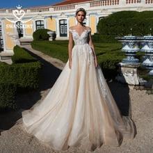 Sweetheart Beaded Princess Wedding Dress Off Shoulder Appliques Lace A Line SWANSKIRT I182 Bridal Gown Illusion Vestido de noiva