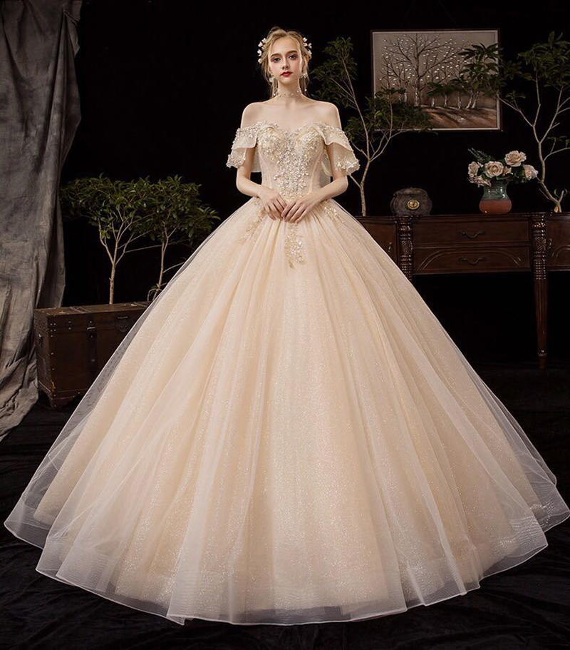 Beautiful Embroidery Beading Lace ball Gown Wedding Dresses Vestidos De Novia 2020 Cap Sleeves Bridal Dress Wedding Gowns