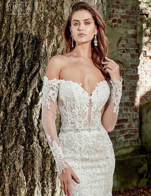 Boat Neck Vestido De Noiva Luxury lace Embroidery Mermaid Bride Wedding Dress 2021 new Bridal Gown Sexy backless Robe de mariee 4