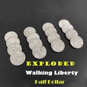 Взрыв ходьбы свободы половина доллара Волшебные трюки 4 монеты до 16 магов крупным планом иллюзии, трюк, реквизит, монета появляющаяся магния