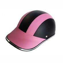 フリーサイズ Pu レザーオートバイオープンハーフフェイスヘルメットバイクスクーターヘルメット女性モトカスコ野球キャップ gorras デ beisbol